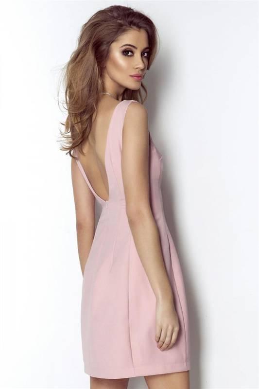 april krótka wizytowa różowa sukienka bez pleców na wesele