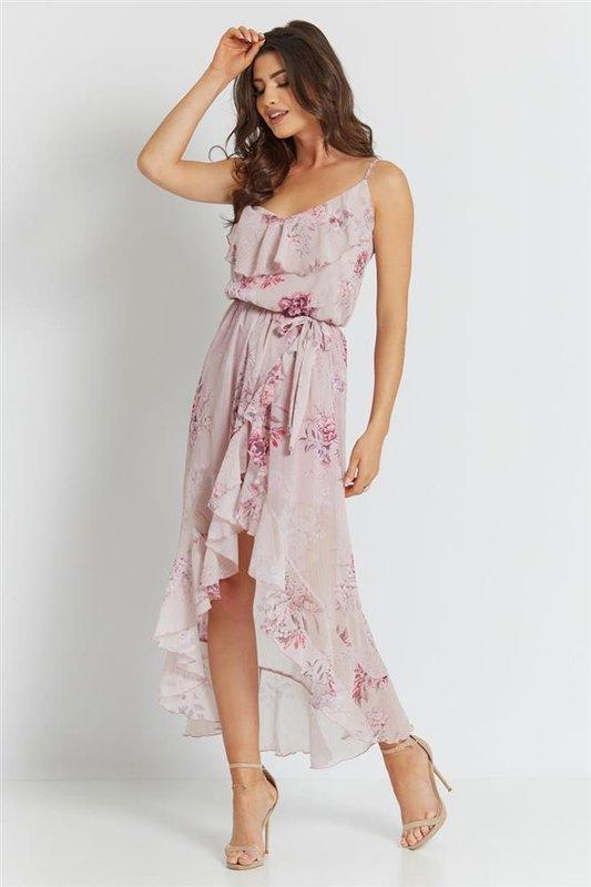 luna krótka różowa sukienka rozkloszowana na imprezę z falbaną