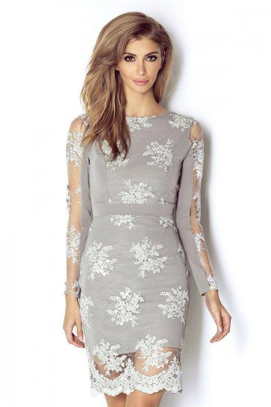 paris popielata wizytowa mini sukienka ołówkowa na sylwestra