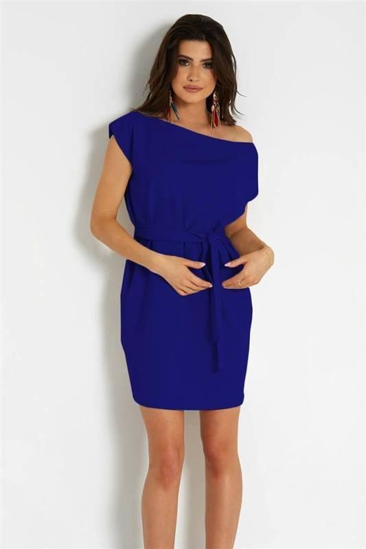 valencia krótka klasyczna chabrowa sukienka rozkloszowana do pracy
