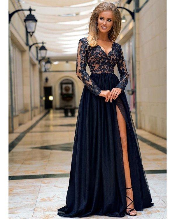 ADEL - długa suknia wieczorowa-czarny