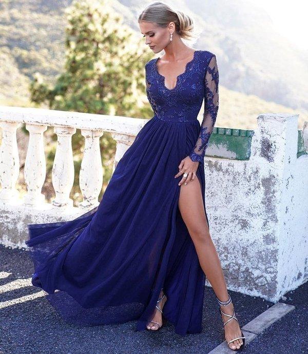 ADEL - długa suknia wieczorowa-granatowy
