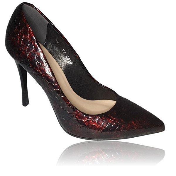 Buty skórzane damskie czółenka szpilki bordowe krokodyl