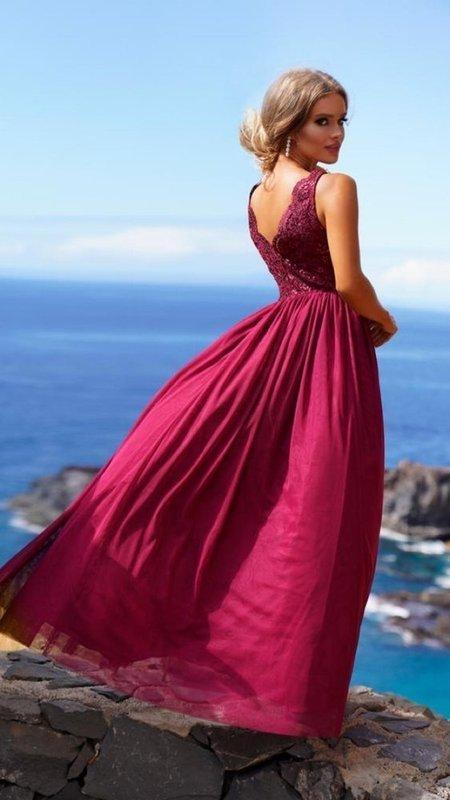CHIARA - długa suknia wieczorowa bordowa
