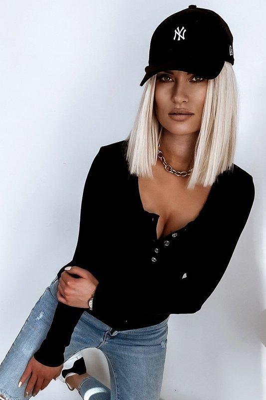 Damska Bluzka Basic Guziki- czarny