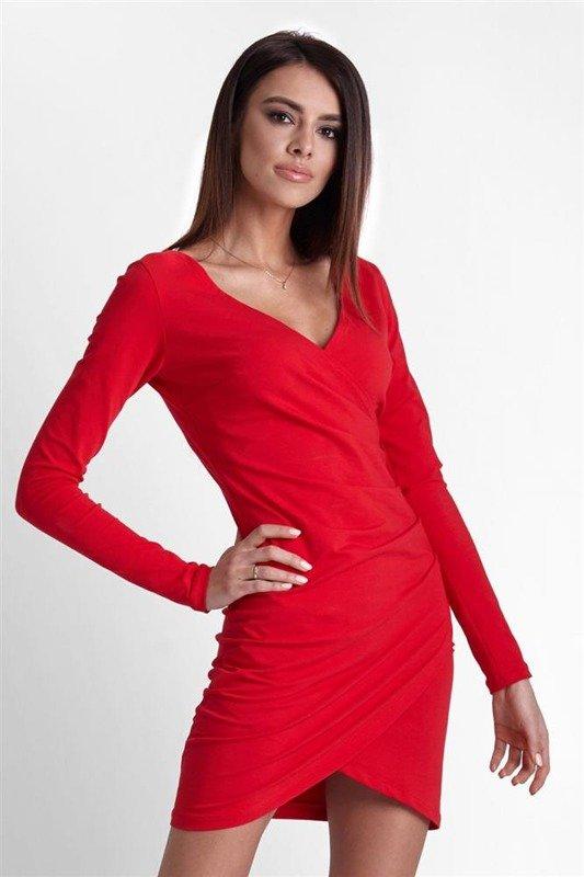 Drapowana  nela krótka elegancka czerwona sukienka ołówkowa