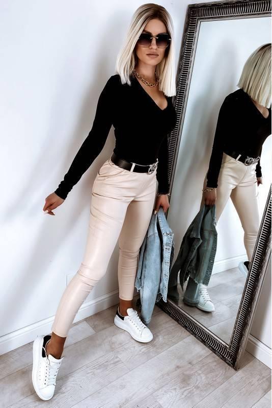 Klasyczne Spodnie Woskowane Latte