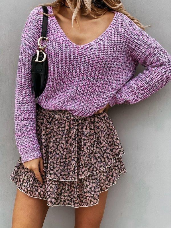 Sweterek V melange- pink
