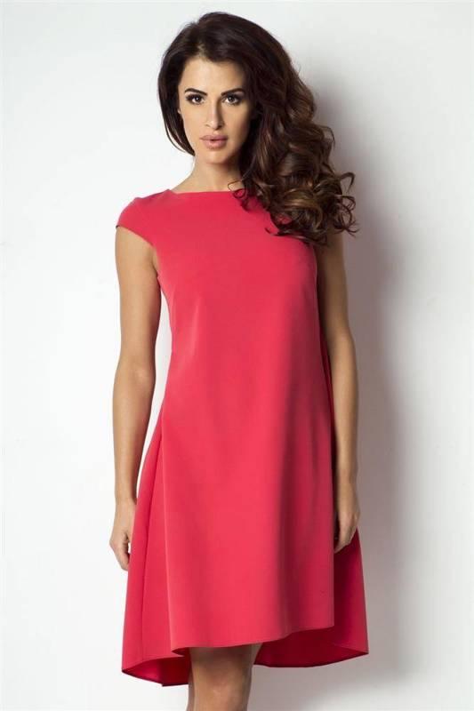 angelina midi czerwona sukienka rozkloszowana na imprezę