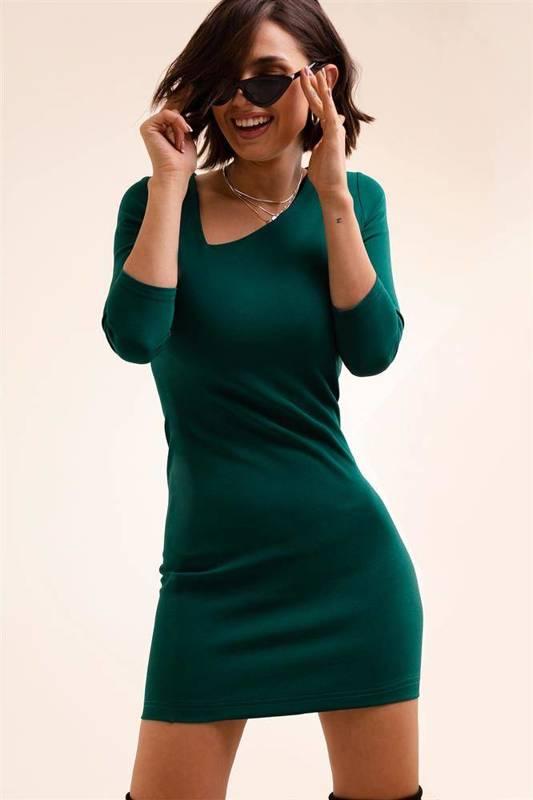 bambi krótka klasyczna zielona sukienka ołówkowa do pracy