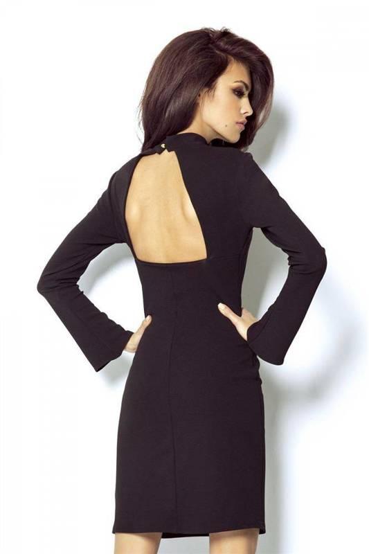 giselle mała czarna wizytowa sukienka ze stójką na karnawał