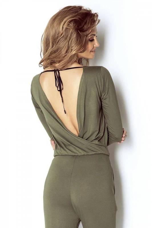 khaki dresowy kombinezon damski erine na co dzień z odkrytymi plecami