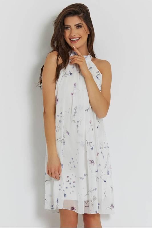 liv biała elegancka mini sukienka rozkloszowana ze stójką