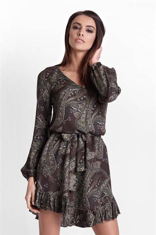 masha w stylu boho khaki mini sukienka rozkloszowana z falbanką