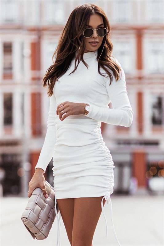 nastia śmietankowa elegancka mini sukienka ołówkowa do pracy