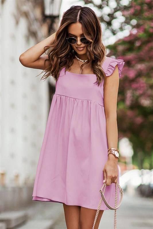 noel krótka elegancka różowa sukienka rozkloszowana boho