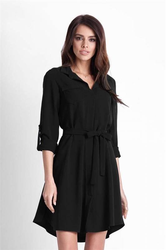 octavia mała czarna sukienka koszulowa z kołnierzykiem na co dzień