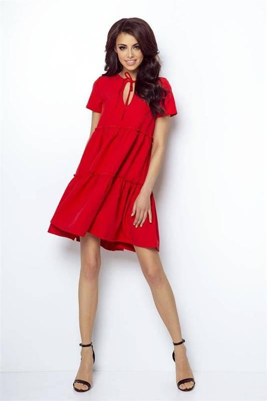 pola czerwona mini sukienka rozkloszowana z falbaną na co dzień