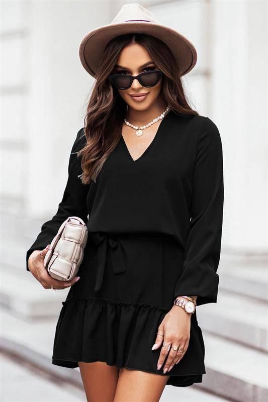 renee mała czarna sukienka boho rozkloszowana z falbaną do pracy