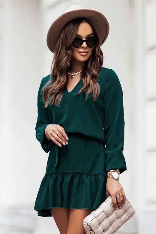 renee zielona mini sukienka boho rozkloszowana z falbanką do pracy