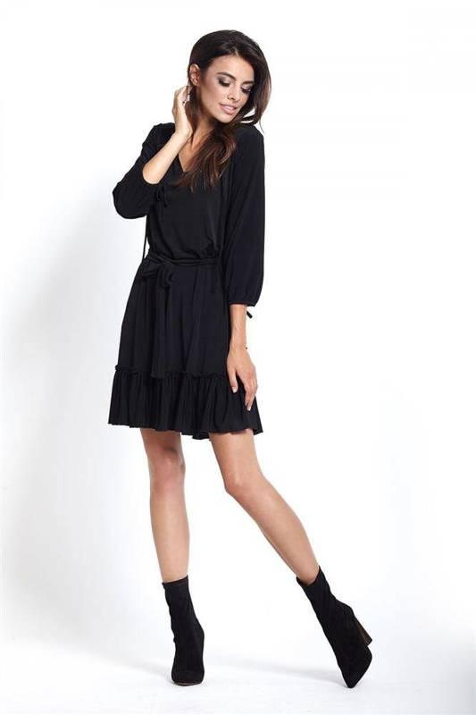 roksana z falbaną krótka elegancka czarna sukienka rozkloszowana