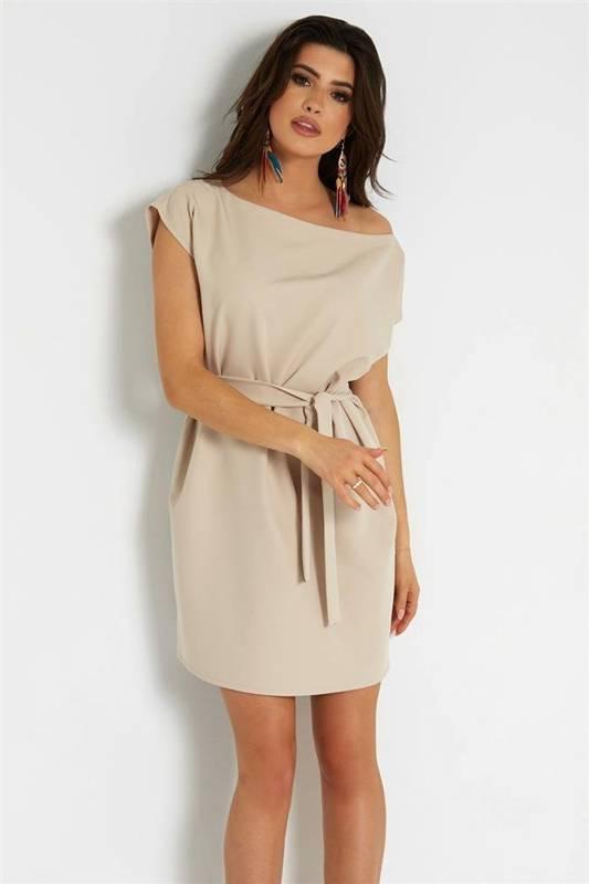 valencia krótka klasyczna beżowa sukienka rozkloszowana do pracy