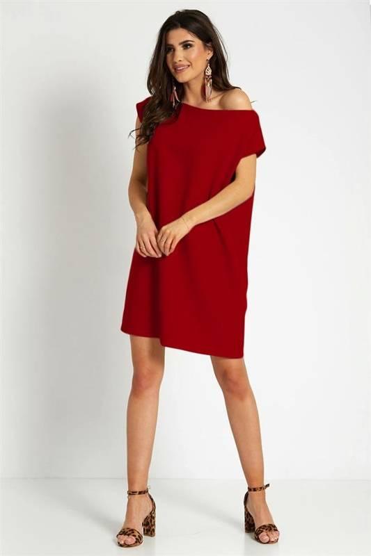 valencia krótka klasyczna czerwona sukienka rozkloszowana do pracy