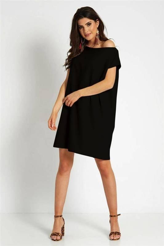 valencia mała czarna klasyczna sukienka rozkloszowana do pracy