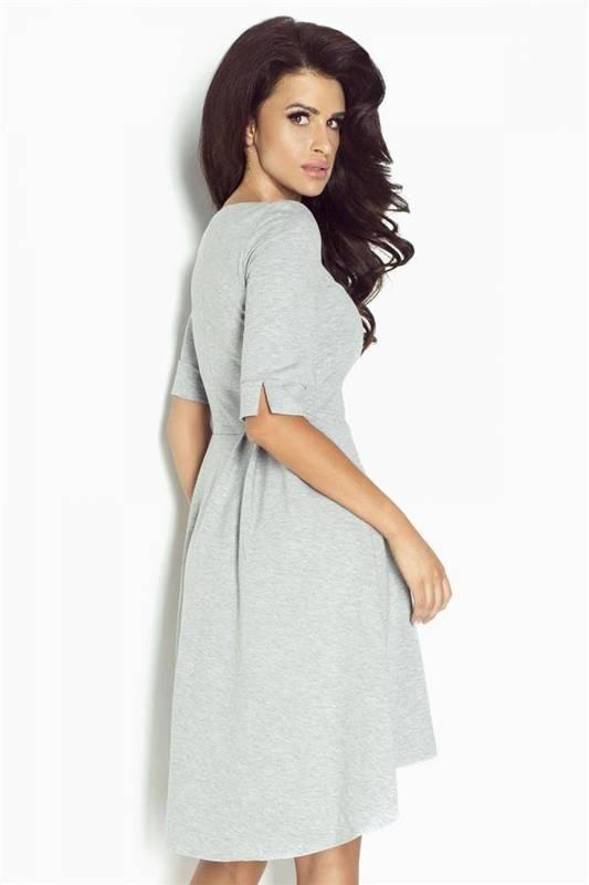 Asymetryczna  jovita midi szara sukienka rozkloszowana na co dzień