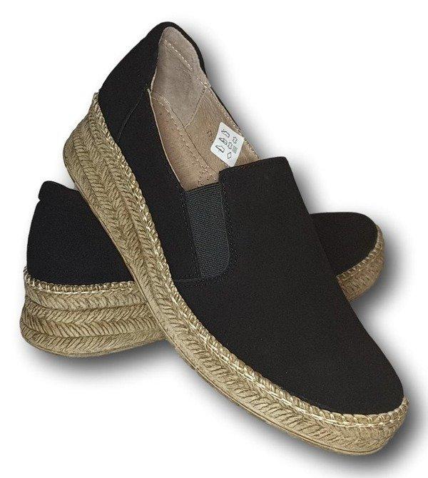 Buty skórzane damskie na platformie- czarne
