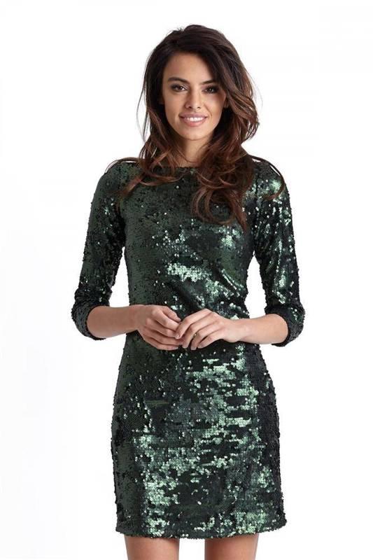 Cekinowa zielona  colin krótka sukienka na studniówkę