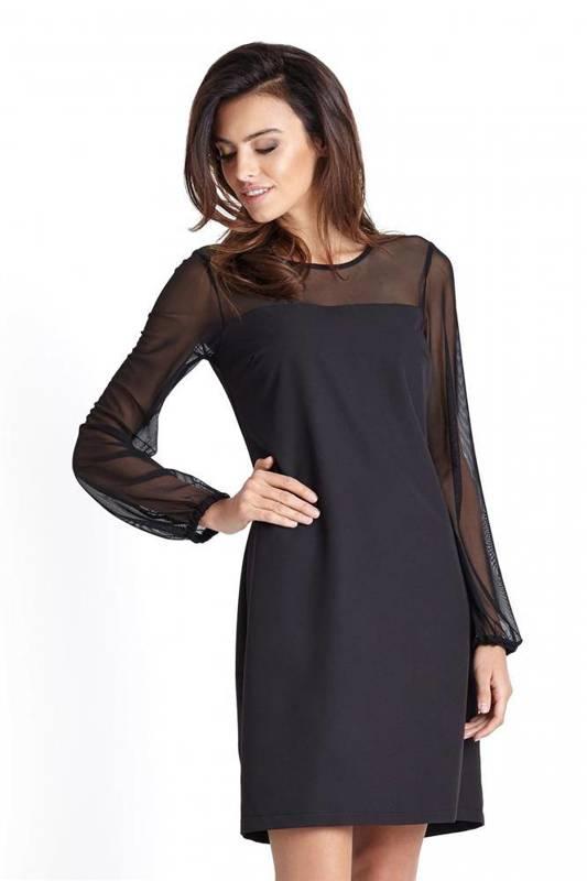 Elegancka  daniela krótka wizytowa czarna sukienka z siateczką