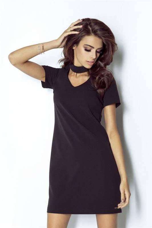 Elegancka  elena z chokerem mała czarna sukienka