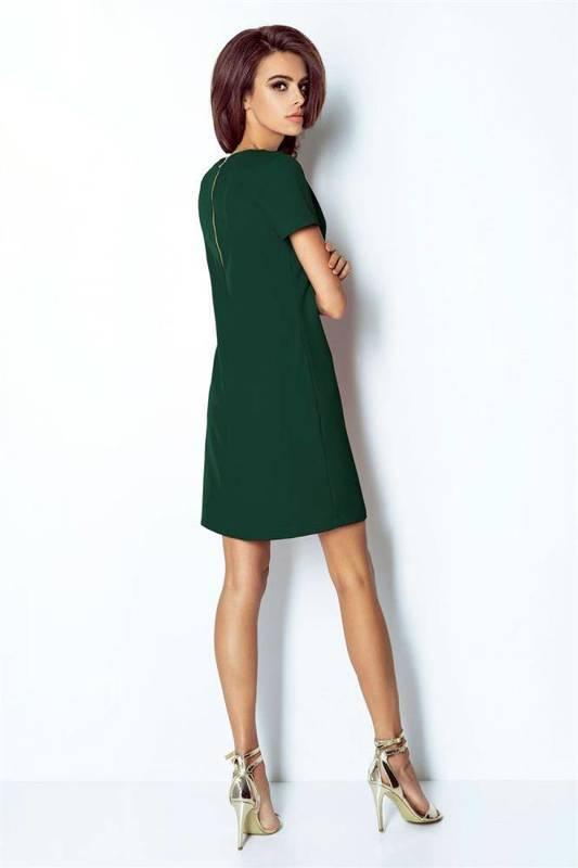 Elegancka  matilda krótka wizytowa zielona sukienka rozkloszowana