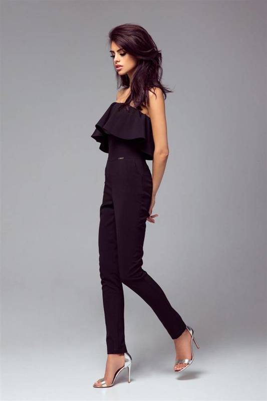 Elegancki czarna  kombinezon damski nicole na wesele z odkrytymi plecami
