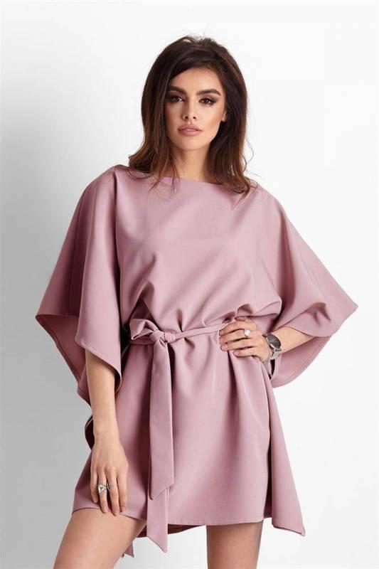 Kimonowa  lotta różowa mini sukienka boho rozkloszowana na sylwestra