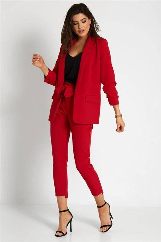 Klasyczny czerwona komplet garnitur damski  na wesele