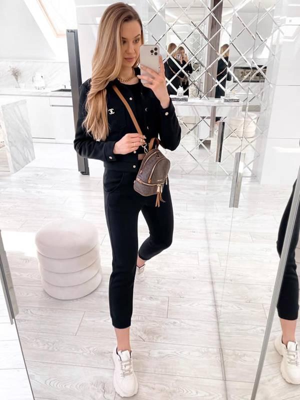 Komplet bluzka + top + spodnie - czarny