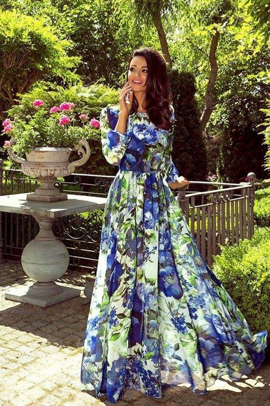 LINDA- Sukienka długa Maxi-KWIATY