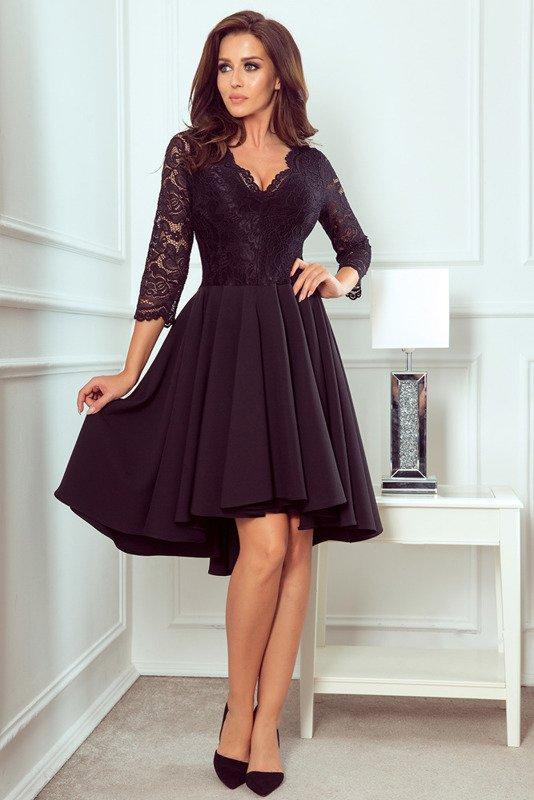 NICOLLE - sukienka z dłuższym tyłem -czarny