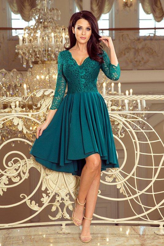 NICOLLE - sukienka z dłuższym tyłem -zielony