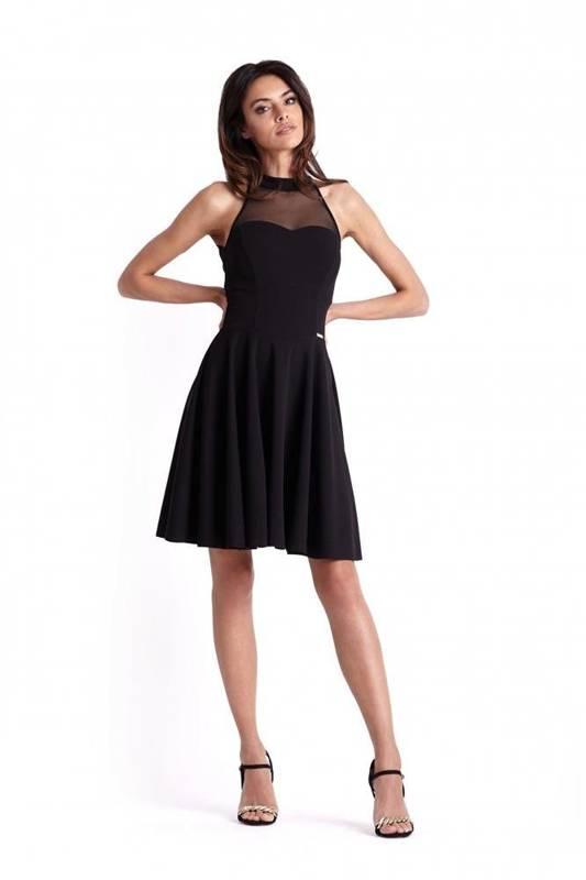 Rozkloszowana  gemma mała czarna elegancka sukienka na studniówkę