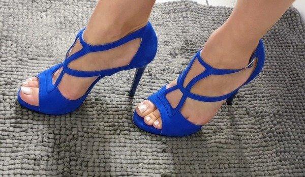 Sandały S200/5-kobalt zamsz