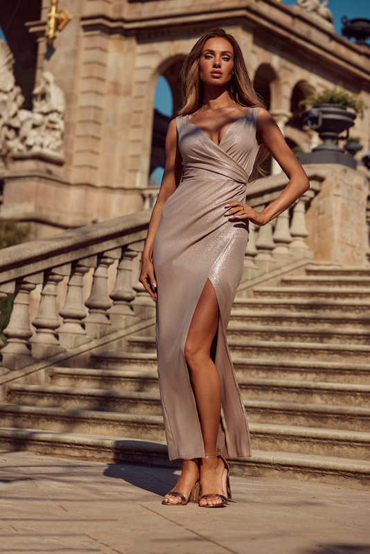 Sukienka Laura- beż błysk