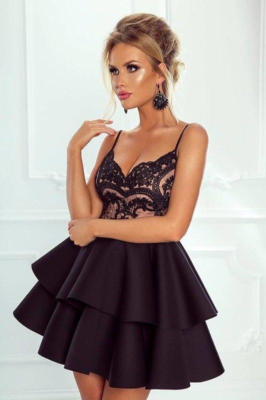 Sukienka Leila - Czarno-beżowy