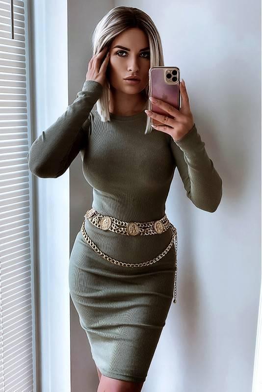 Sukienka Midi Basic -Olive