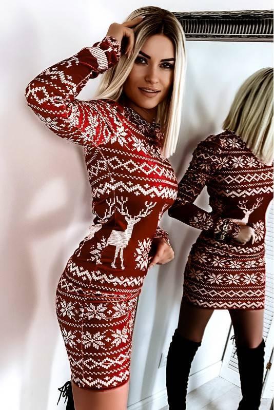 Sukienka Świąteczna Bufki Norway Red