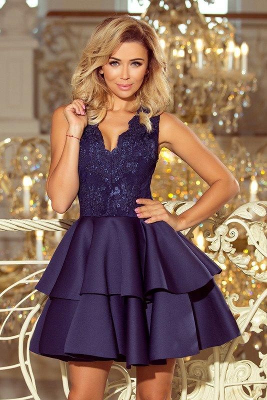 Sukienka koronkowa z podwójną falbanką- Granatowy