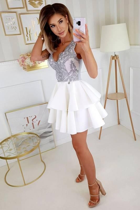 Sukienka koronkowa z podwójną falbanką-biało-szary