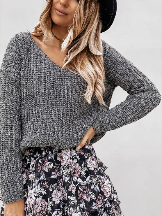 Sweterek V melange- szary
